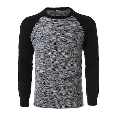 Men Colorblock Lightweight Long Sleeve Crewneck Pullover Knit Sweater - Grey
