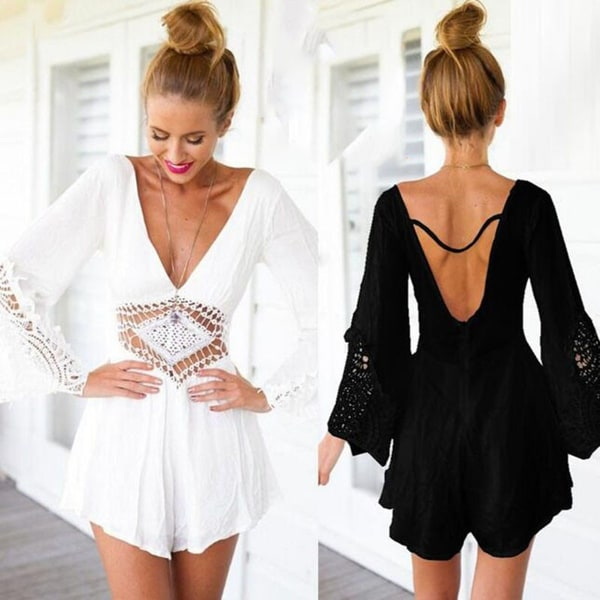 f90324e241f5 Lace Flower White Jumpsuit Women Long Sleeve Womens Casual V-Neck Sexy  Rompers Women Jumpsuit