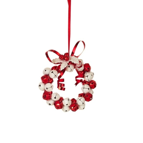 """4"""" Peppermint Twist Jingle Bell Wreath with Holly and Berries Christmas Ornament - RED"""