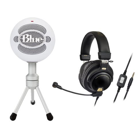 Blue Microphones SNOWBALLICE White Mic with Gaming Headset