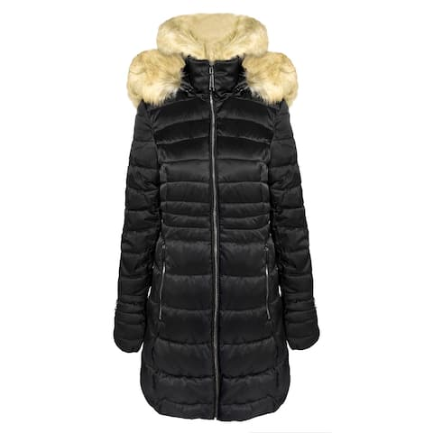 Laundry by Shelli Segal Women's Quilted Faux Fur Puffer Jacket, Black
