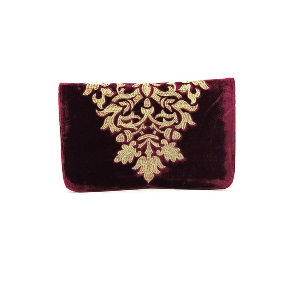 Shiraleah Arabela Women Velour Burgundy Clutch - Red