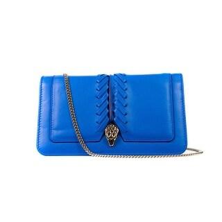 Roberto Cavalli Womens Blue Serpent Wallet Clutch Mini Shoulder Bag