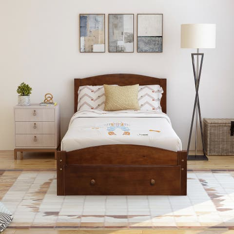 Platform Twin Bed Frame with Storage Drawer and Wood Slat Support