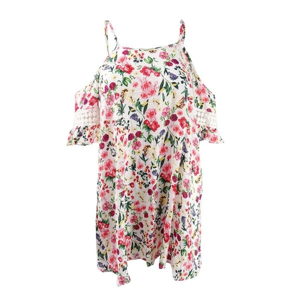 782f970a52af1 Jessica Simpson Women's Garden Party Printed Off-The-Shoulder Cover-Up -  White Multi
