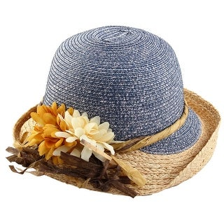 Women Ladies Straw Floral Decor Floppy Beach Hat Brimmed Cap Summer Topee Blue