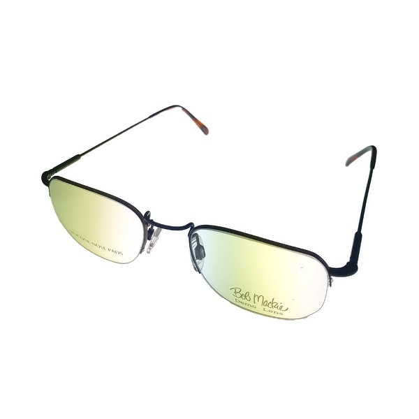 Bob Mackie Mens Opthalmic Eyeglass Rimless Square 779 Matte Black Tortoise - Medium