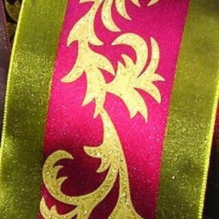 "Olive Green, Burgundy Red and Gold Margaritte Taft Vines Wired Craft Ribbon 2.5"" x 27 Yards"