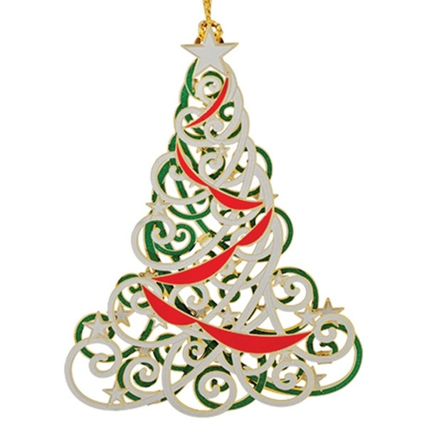 "3"" Red, White and Green 24K Gold Finished Abstract Christmas Tree Ornament"