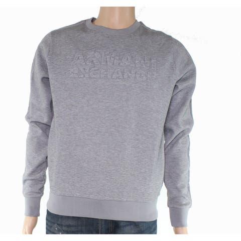 Armani Exchange Mens Sweaters Gray Large L Crewneck Fleece Pullover