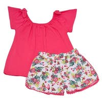 Little Girls Coral Tie Short Sleeve Top Floral Print 2 Pc Shorts Outfit