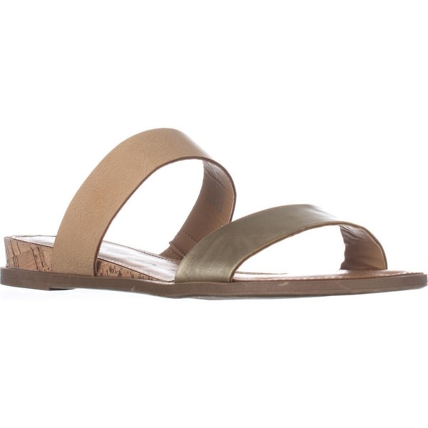 AR35 Easten Flat Two Strap Sandals, Tan/Gold