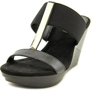 Alfani Bainer Open Toe Synthetic Wedge Sandal