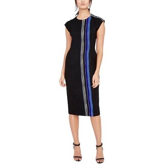 Rachel Roy Womens Midi Dress Striped Midi