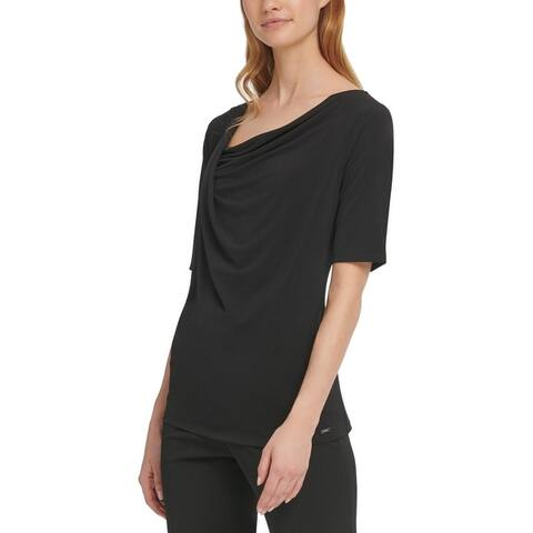 DKNY Womens Top Draped-Neck Short Sleeve
