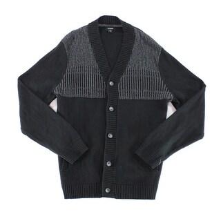 Alfani Black Mens Size 2XL Button-Front Colorblock Cardigan Sweater