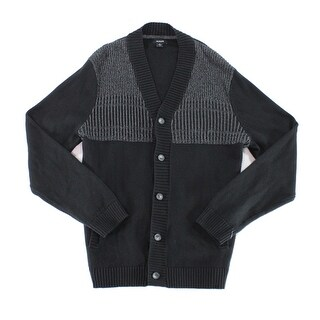 Alfani NEW Black Mens Size 2XL Button-Front Colorblock Cardigan Sweater