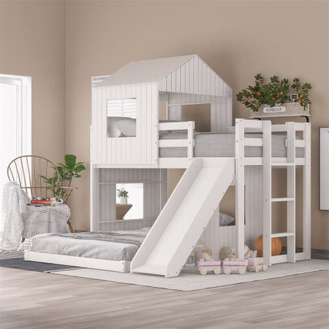 Merax Wooden Twin Over Full Bunk Bed with Playhouse, Farmhouse, Ladder, Slide and Guardrails
