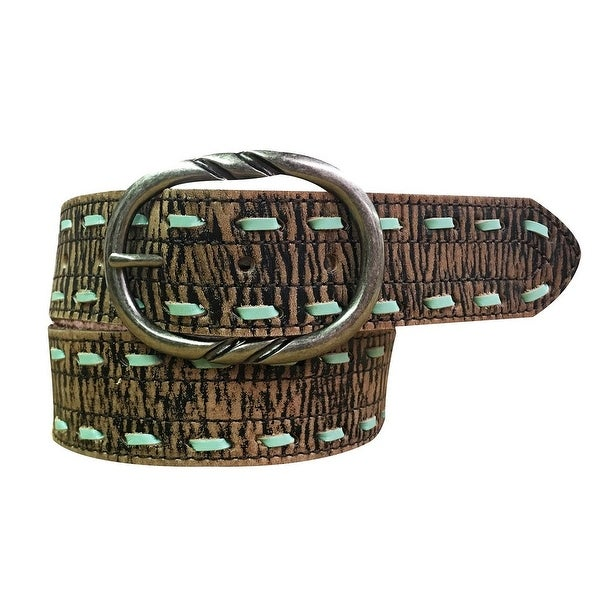 Cowgirls Rock Western Belt Womens Leather Lacing Tan