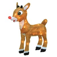 "18"" Pre-Lit Rudolph the Red-Nosed Reindeer Outdoor Decoration - Clear Lights - brown"