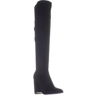 Marc Fisher Natier Over The Knee Boots, Black Fabric - 9.5 US