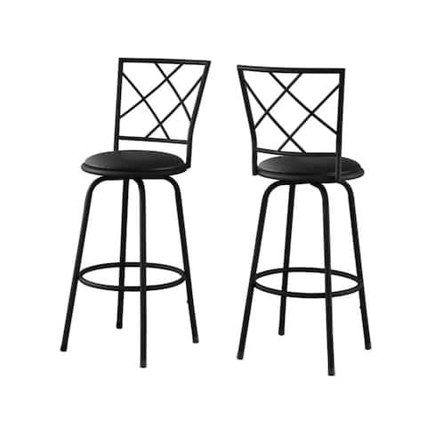 Offex 2 Piece Barstool Swivel - Black /Black Leather-Look Seat