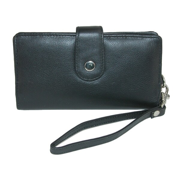 CTM® Women's Leather Wallet with Snap Closure - One size
