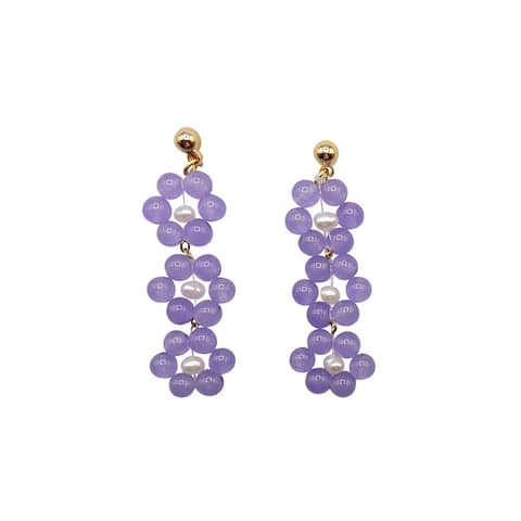 Lavender Jade Earrings on Gold Ball Studs - 3 Daisies