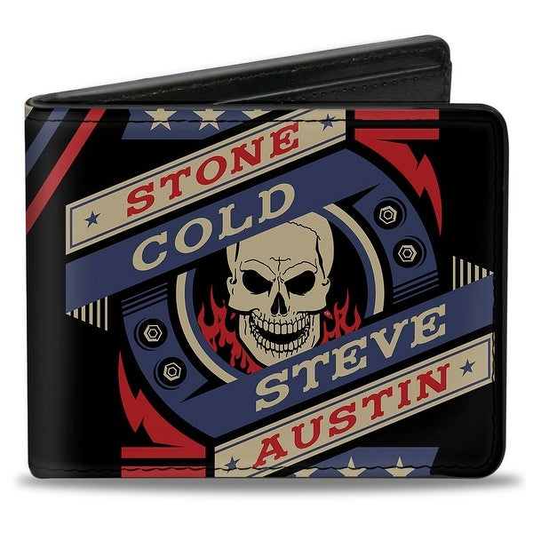 Stone Cold Steve Austin Skull Icon2 + Skull Close Up Stripe Black Red Blue Bi-Fold Wallet - One Size Fits most