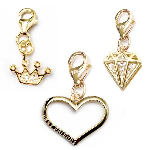 Julieta Jewelry Best Friend Heart, Crown, Diamond 14k Gold Over Sterling Silver Clip-On Charm Set