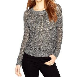 Lucky Brand Womens Pullover Sweater Metallic Open Stitch