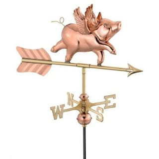 "21"" Handcrafted Polished Copper Flying Pig Outdoor Weathervane with Roof Mount"