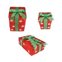 Set of 3 Red Snowflake Sisal Gift Boxes Lighted Christmas Outdoor Decorations