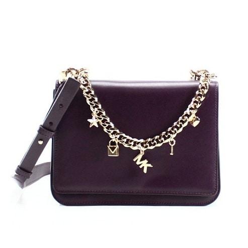2832c6eb0e4 Michael Kors NEW Red Damson Leather Mott Charm Swag Shoulder Bag Purse