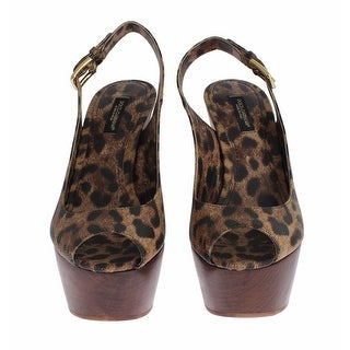 Dolce & Gabbana Brown Leopard Leather Platform Sandals Shoes - 36