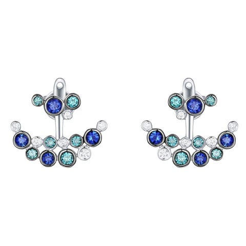 Prism Jewel 0.96Ct Blue Sapphire with Blue & Natural Diamond Front Back Earring