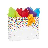 """Pack Of 200, Vogue 16 x 6 x 12.5"""" Rainbow Confetti Recycled Shopping Bags Made In Usa"""
