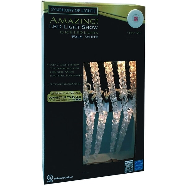 Brite Star 39-469-23 Warm White LED Icicle Lights, 3.5 Watts