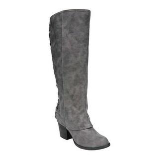 Fergalicious Women's Tinley Knee High Wide Calf Denim Oiled Fabric