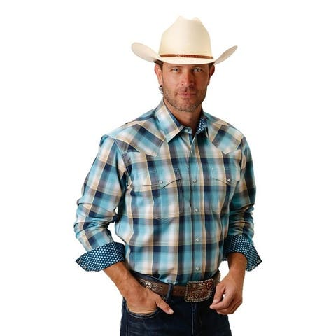 Roper Western Shirt Mens Long Sleeve Snap Plaid