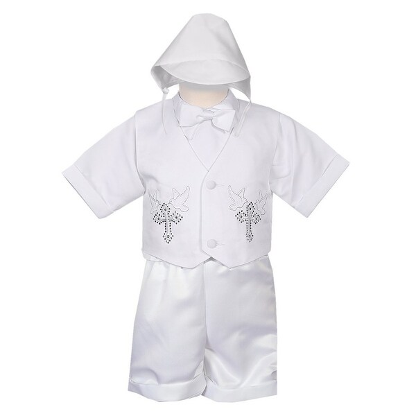 Rafael Collection Baby Boys 4 pc Rhinestone Cross Vest Hat Baptism Outfit 24M