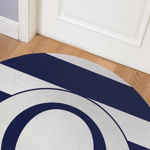 MONO NAVY STRIPED Q Indoor Floor Mat By Kavka Designs
