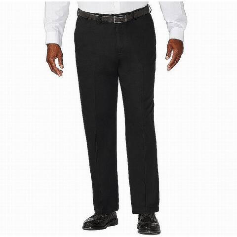 Haggar Mens Pants Black Size 46X29 Big & Tall Classic Fit Flat Khakis