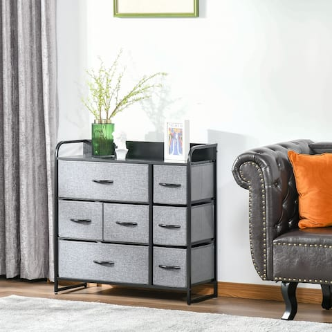 HOMCOM 7-Drawer Dresser, Fabric Chest of Drawers, 3-Tier Storage Organizer for Bedroom Entryway, Steel Frame Wooden Top Grey