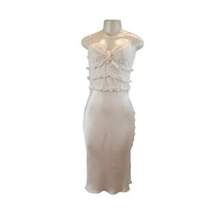 Victoria's Secret Designer Collection 100% Silk & Lace Ruffled Slip Pink Medium - Pink Blush