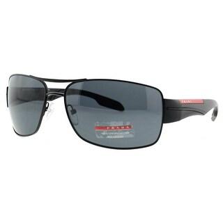 PRADA Rectangular SPS 53N Men's 1BO-5Z1 Black Grey Polarized Sunglasses - 65mm-16mm-130mm