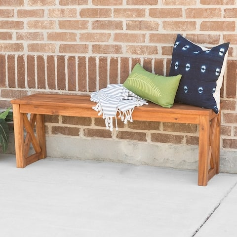Surfside Acacia X-frame Brown Outdoor Bench by Havenside Home