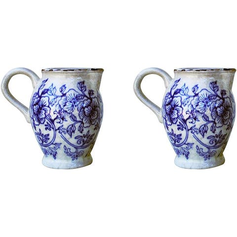 """Set of 2 Old World Ceramic Blue and White Flower Pitcher Shaped Planters - 6.25"""" x 6"""""""