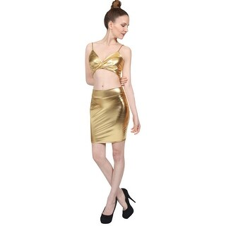 NE PEOPLE Women's Sexy Metallic Strap Bra Top & Skirts 2 Pieces Set