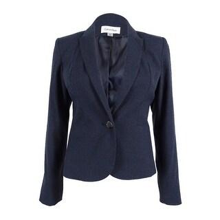 Calvin Klein Women's Petite Peaked 1-Button Blazer - Navy (Option: 6P)